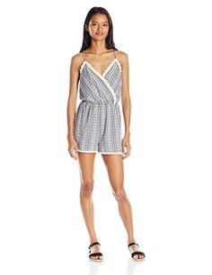 Trixxi Juniors Embroidered Romper Chambray Medium -- Want to know more, click on the image.
