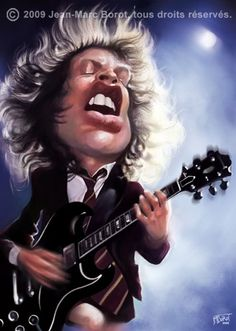 famous Black Caricatures | Angus Young Cartoon