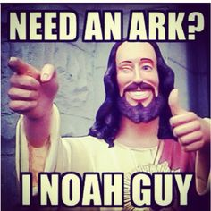 I love this b/c of the corny joke and am I crazy or is that the Buddy Jesus statue from Dogma?