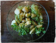 Jamie Oliver potato salad with avocado and watercress Jamie Oliver Potatoes, Watercress Recipes, Avocado Salad, Celery, Potato Salad, Food Ideas, Fresh, Dinner, Vegetables