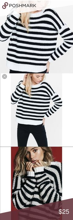 Express Striped Short Shaker Knit Sweater XS Short black and white striped sweater. Hits above hips but not a crop. Sweater is made to be baggy and is super comfortable! One of my favorite purchases.  Bundle and Save  No trades  Pet and smoke free Express Sweaters Crew & Scoop Necks