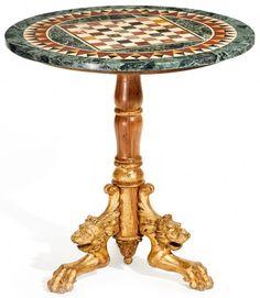 SCHACHTISCH NAPOLEON III. Frankreich. Um 1860-80. Holz, geschnitzt und gefasst. Pietra-Dura-Platte.