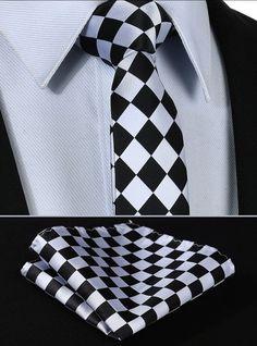 New Classic Checks Blue Silver Jacquard Tissé 100/% Soie Hommes Cravate Cravate
