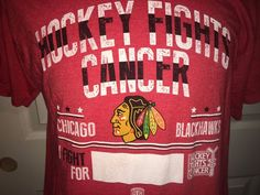 Chicago Blackhawks 2015 Hockey Fights Cancer T-Shirt Adult Large old time Hockey #OldTimeHockey #ChicagoBlackhawks