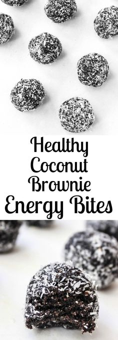 Dark Chocolate Coconut Fudge Brownie Energy Bites- a delicious healthy snack or dessert! Dark Chocolate Coconut Fudge Brownie Energy Bites- a delicious healthy snack or dessert! Ingredients 1 cup medjool dates, pitted cup raw walnuts Coconut Brownies, Paleo Brownies, Fudge Brownies, Yummy Healthy Snacks, Healthy Baking, Snack Recipes, Cooking Recipes, Dessert Healthy, Budget Recipes