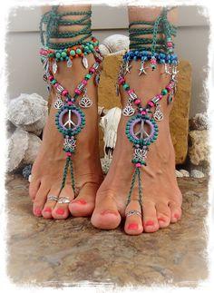 Lotus-Friedenszeichen barfuss Sandalen Friedenssymbol von GPyoga