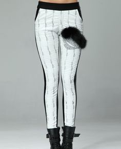 Leather-block & Crystals-encrusted White Leather Pants | BlackFive
