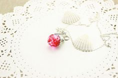 rose red flowers necklace, real flower necklace, marble jewelry, resin ball charm, pendant necklace, rose red flowers jewelry