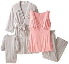 Everly Grey Women's Maternity Roxanne Nursing Pajama Set with Baby Gown at…