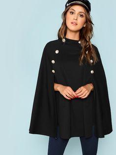 Shop Double Button Mock Poncho Coat online. SheIn offers Double Button Mock  Poncho Coat  amp d6f449170988