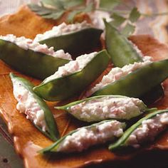 Crab stuffed pea pods   Help fight hunger in partnership with Feeding America when you pin or re-pin Land O'Lakes recipes. Learn more at www.landolakes.com/FeedingAmerica.