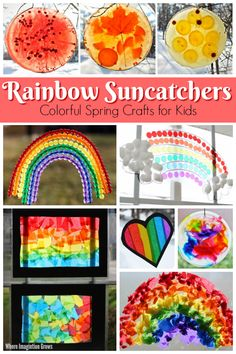 10 Fun Rainbow Suncatcher Crafts for Kids - Simple and fun rainbow suncatcher crafts that kids can make for spring. Easy art and craft projects for toddlers and preschoolers with a colorful rain. Rainbow Activities, Rainbow Crafts, Craft Activities For Kids, Spring Activities, Learning Activities, Homeschooling Resources, Toddler Activities, Teaching Resources, Rainbow Theme