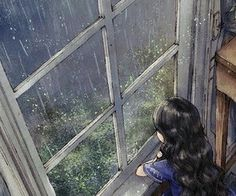 On a rainy day, we stayed next to the window and enjoyed the song-like sound of beautiful raindrops. Art And Illustration, Stock Design, Images Kawaii, Forest Girl, Jolie Photo, Anime Scenery, Anime Art Girl, New Wall, Aesthetic Art
