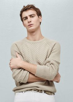 Mixed knit sweater - Sweaters for Men Costume, Latest Outfits, Spring Summer 2016, Knitting Designs, Knitwear, Latest Trends, Mango, Winter Fashion, Men Sweater