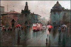 Dusan Djukaric Red tram, 35x55 cm , watercolor