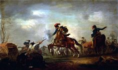 General Nadasty's Hungarian Hussars attacking the Prussian camp during the Battle of Soor