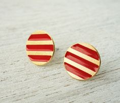 Red and gold striped post earrings by Shlomit Ofir Jewelry Design.