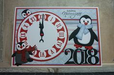 T t penguin clock new year card! Christmas Shows, Christmas 2017, Marianne Design, Nouvel An, New Year Card, Scrapbook Cards, Scrapbooking, I Card, Cardmaking