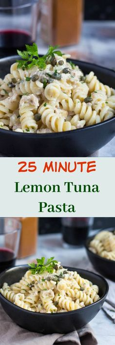 Store Cupboard Staples: Easy 30 Minute Lemon Tuna Pasta. Keep a few store cupboard staples on hand, and you can whip up this easy Lemon Tuna Pasta in a flash. The perfect meal with which to end a busy day. Recipes | Dinner | Healthy | Creamy | Sauce | It