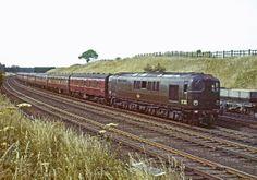 Bulleid designed Diesel Electric 10203 near Winsford with the up Royal Scot, Electric Locomotive, Diesel Locomotive, Steam Locomotive, Railroad Pictures, Southern Railways, Bullen, Train Art, British Rail, Old Trains