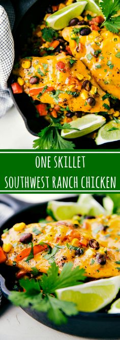 The BEST One Skillet Southwest Ranch Cheddar Chicken. Easy, 30-minute meal!