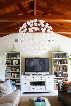 Little Green Notebook: Room Tours: Kristin's Living Room (and white sputnik!)