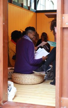 Family Workshop Day with English Pen. The free speech and literature charity, English PEN, are in residence, bringing writers to Parasol unit to fill our space with words and wonder. Image © Parasol unit, London.