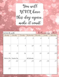 FREE Printable 2021 Monthly Motivational Calendars. Space for setting goals, different motivational quote each month, holidays marked. Get motivated and organized with this free printable calendar. Printable Blank Calendar, Monthly Planner Printable, Kids Calendar, 2021 Calendar, Calendar Ideas, Calendar Design, Inspirational Calendar, Setting Goals, Free Printables