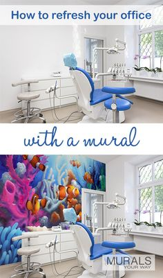 Visiting the dentist can be scary for patients both young and old. But, calming and cheerful murals can help. Art has the ability to transform a space, provide solace and comfort, and improve the health of patience. An easy, cost effective way to add art to your office is with a wall mural. Mural shown is Here Come the Clowns by David Miller (DM2033 ).