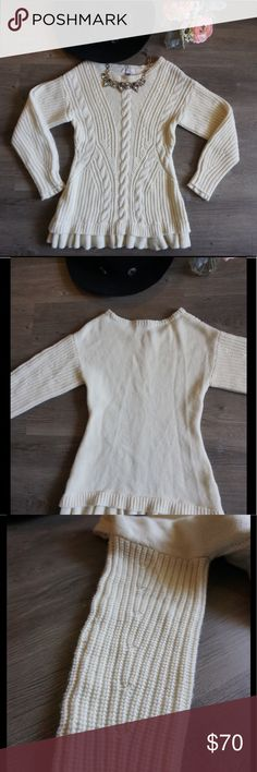 Olivia Palermo Chelsea28 Cable Knit Sweater NWOT The cutest and softest sweater. Trying my best not to keep it for myself. Olivia Palermo Chelsea 28 mashup. Ruffle bottom hem and tips of the sleeves. Off white. So many cute details including up sides of sleeves (see 3rd photo).  Open to reasonable offers. No trades. Chelsea28 Sweaters