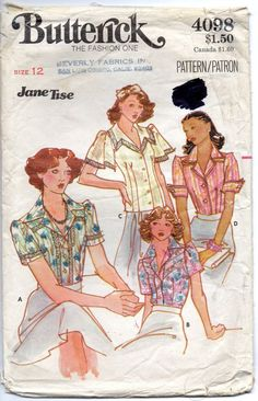 Butterick 4098 Young Designer JANE TISE Misses Romantic Blouse vintage sewing pattern pointed or sailor collar Sweet Baby Jane by mbchills Vintage Dress Patterns, Blouse Vintage, Clothes Patterns, Vintage Denim, Vintage Style, Sailor Collar, Young Designers, Lace Inset, Lace Trim