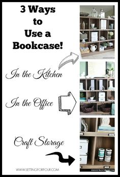 Repurposing and Decorating Tip! 3 Ways to Use a Bookcase in your home. www.settingforfour.com