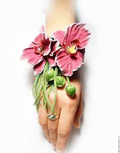Ольга Башкирова украшения из кожи Браслет из кожи Загадка Орхидеи
