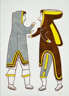 "Simon Tookoome 1934-2010 Inuit (Qamani'ttuaq aka Baker Lake) Man and Wife, 1979 Stencil on paper  ""My first art was a drawing I did before I moved to Baker Lake. When I came here, I saw my sister doing drawings and making money and I envied her. From there, I started to make drawings. I tried to look at other people's work. I took what I liked and moved towards my own style of mythology and a bit or realism and mixed it together. I did Inuit legends of shamans and other Inuit stories and ..."