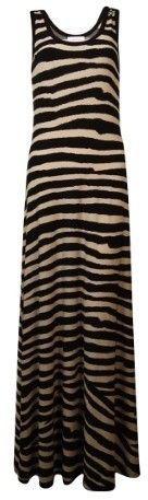 Calvin Klein Women's Sleeveless Striped Jersey Dress (4, Khaki/Black)