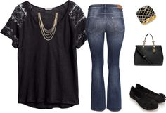 Women's Plus-size Outfit - Black & Gold