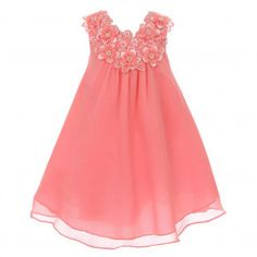 87beb33575e Good Girl Big Girls Coral 3D Flowers Loose Special Occasion Dress 8-14 New  Arrival