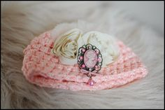 Crochet Baby Hat Pink Cameo Beanie with beige by simplyhandmade4, $28.00