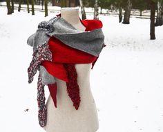 Cozy Patchwork Hand knited shawl scarf red light gray by ZOJKAshop, $49.00