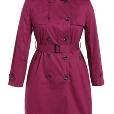 Tie-Waist Double-Breasted Plus Size Trench Coat  $63.99    Specification  Color: ROSE RED  Size: XL, 2XL, 3XL, 4XL, 5XL  Category: Women > Plus Size > Outerwear     Clothes Type: Trench  Material: Polyester  Type: Slim  Clothing Length: Long  Sleeve Length: Full  Collar: Turn-down Collar  Pattern Type: Solid  Embellishment: Button  Style: Fashion  Season: Fall,Spring  Weight: 0.870kg  Package Contents: 1 x Coat