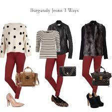 Resultado de imagen para what to wear with burgundy jeans