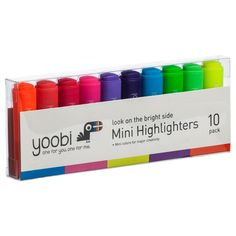 Mini Highlighters, 10 Pack - Multicolor