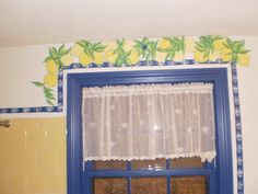 The lemons over the widow with a curtain full of bees. How loverly. House Art, Valance Curtains, Bees, Chandelier, Ceiling Lights, Home Decor, Wood Bees, Homemade Home Decor, Candelabra