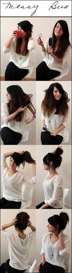 easy messy bun-perfect for my out of control hair