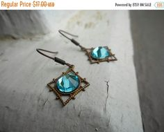 Elora . Inverted Aqua Blue Crystal Art Deco Copper earrings rustic diamonds filigree simple