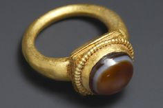 A Ring with Agate Inlay.  Roman, 2nd - 3rd cent. A.D.