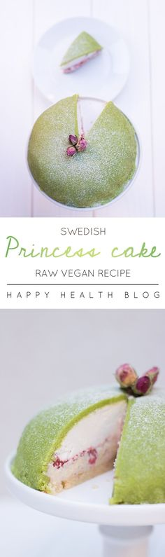 Raw vegan Swedish princess cake - this could be the ultimate vegan cake. Healthy Vegan Dessert, Raw Vegan Desserts, Raw Vegan Recipes, Vegan Dessert Recipes, Vegan Treats, Baking Recipes, Vegan Raw, Sweet Desserts, Healthy Snacks