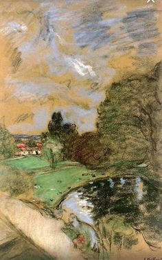 Stormy Sky - Edouard Vuillard - pastel on paper Pierre Bonnard, Edouard Vuillard, Landscape Art, Landscape Paintings, Art Aquarelle, Pastel Art, Pastel Drawing, Claude Monet, French Artists