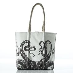 shoulder bags: Sea Bags Women's Recycled Sail Species Line: Octopus Tote one size Black Sea Bags Maine, Old Photography, Must Have Items, Printed Bags, Medium Bags, Boutique, Travel Style, Octopus, Bag Making