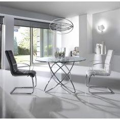 Mesa Comedor Cristal Moderna F2135 de Angel Cerdá 110 cm. Muebles modernos de diseño en Nuryba.com